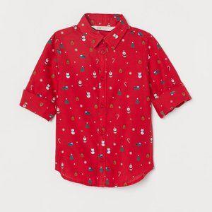 NWT H&M Boys Pattern Christmas Button Down Shirt